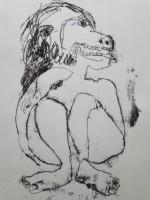 beast girl. mono print 40x30cm