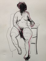Seated woman pen on paper 40x30cm