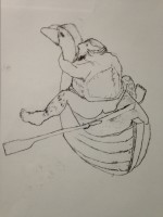 rub a duck drifting. mono print 40x30cm